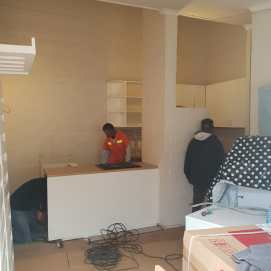 During Demolition: All our cupboards were the first to go