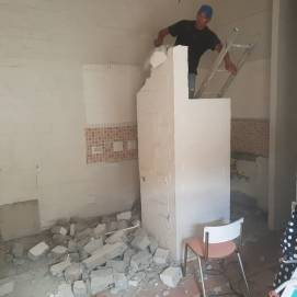 During Demolition: Wall removal