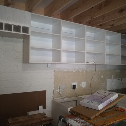 During Building: Black cherry cupboards going up