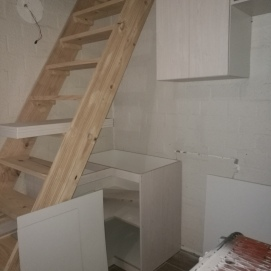 During Building: Staircase to loft with a cupboard below